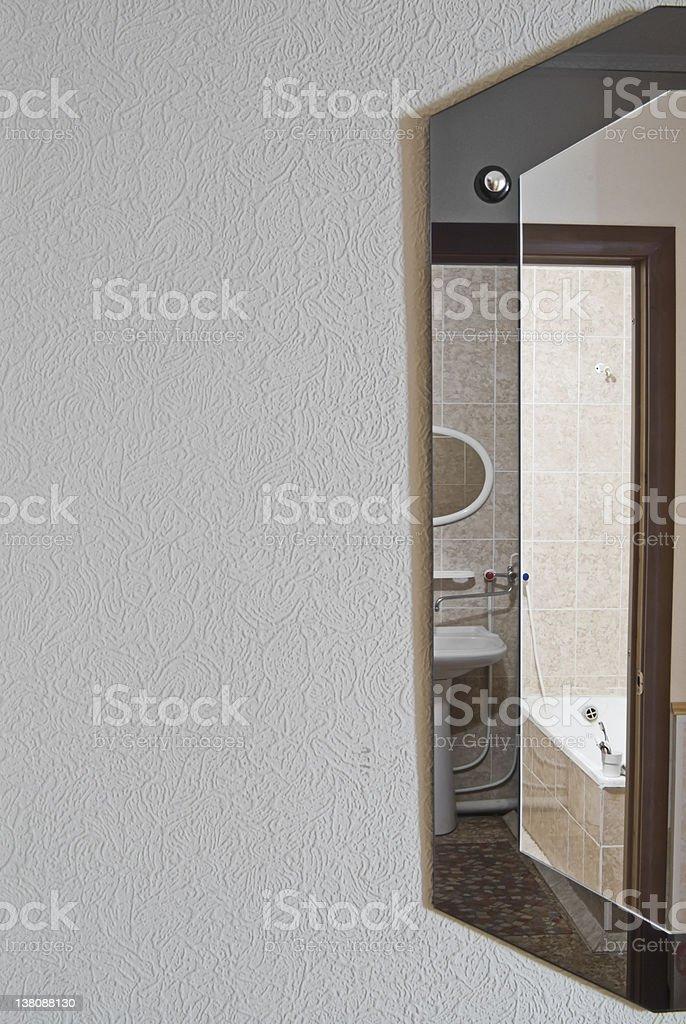 Bathroom in mirror stock photo