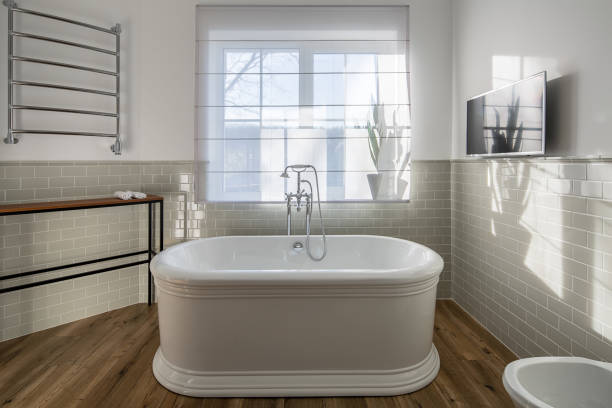 Bathroom in modern style stock photo