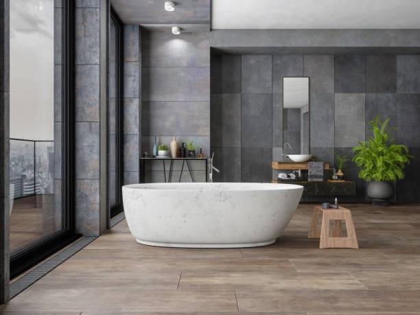 banheiro no repouso luxuoso novo - banheiro doméstico - fotografias e filmes do acervo