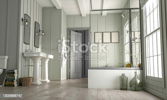 istock Bathroom in New Luxury Home 1305968742
