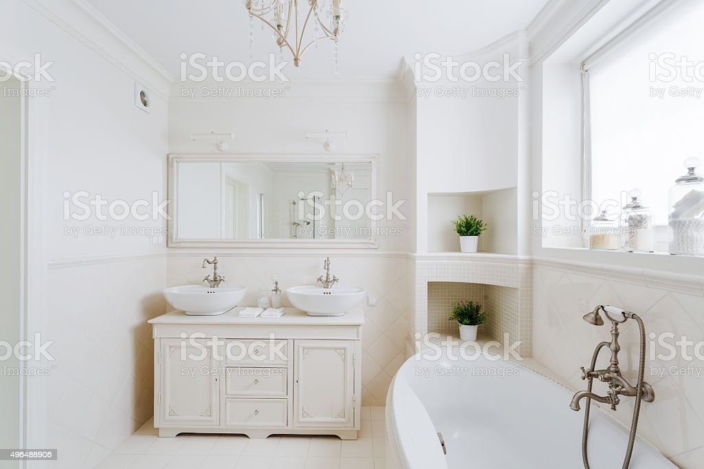 Bathroom in the french style stock photo
