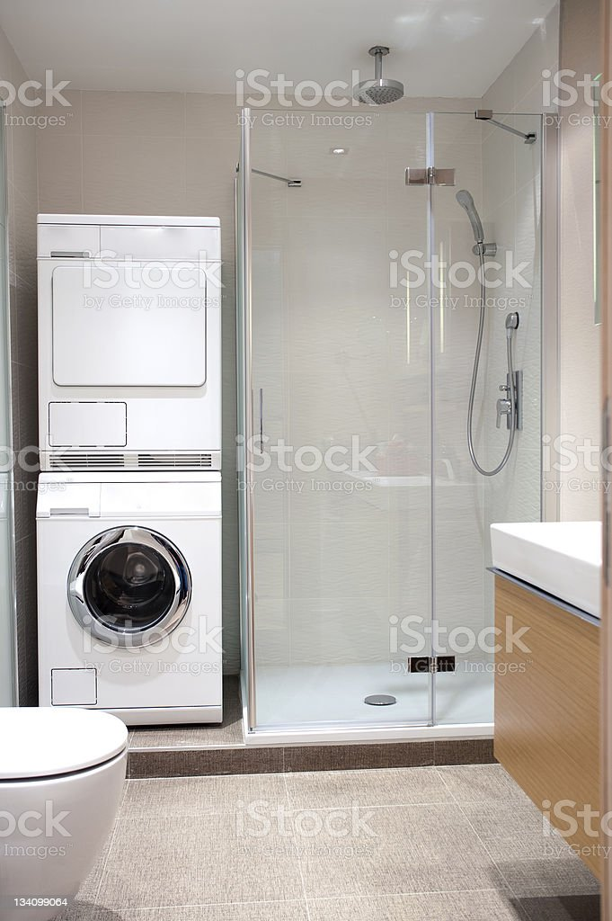 Bathroom in washing machine stock photo istock for Small bathroom designs with washing machine