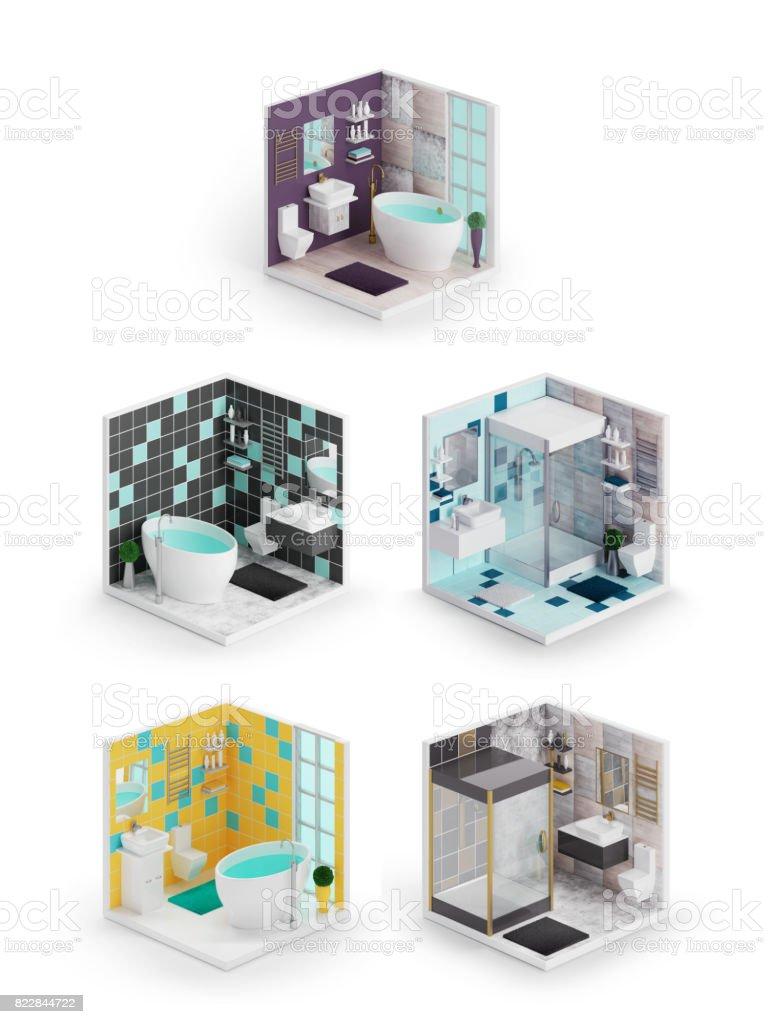 Bathroom interior 3d isometric icons stock photo