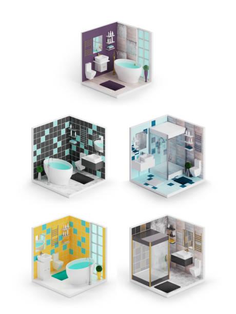 Iconos isométricos 3d interior de cuarto de baño - foto de stock