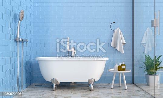 istock bathroom interior, 3D rendering 1030922206