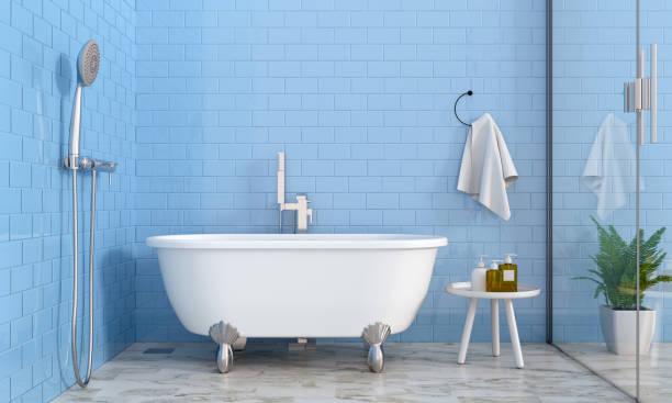욕실 인테리어, 3 차원 렌더링 - 욕조 뉴스 사진 이미지