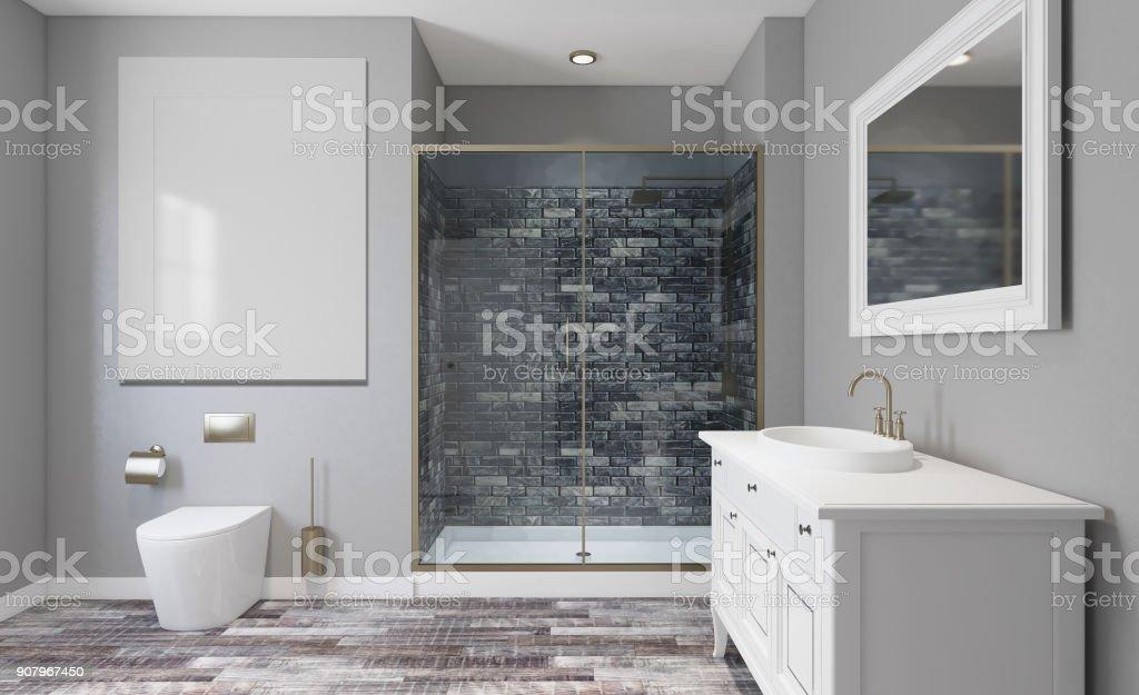 Bathroom Interior Bathtub 3d Rendering Empty Paintings Stock ...