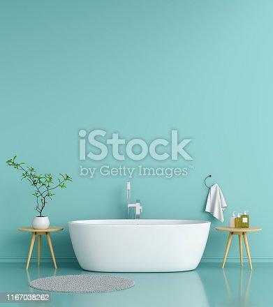 819534860istockphoto Bathroom interior bathtub, 3D rendering 1167038262