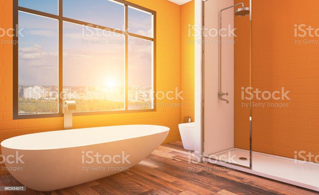 Bathroom interior bathtub. 3D rendering.. Sunset - Royalty-free Bathroom Stock Photo