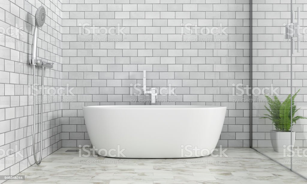 Bathroom interior bathtub stock photo