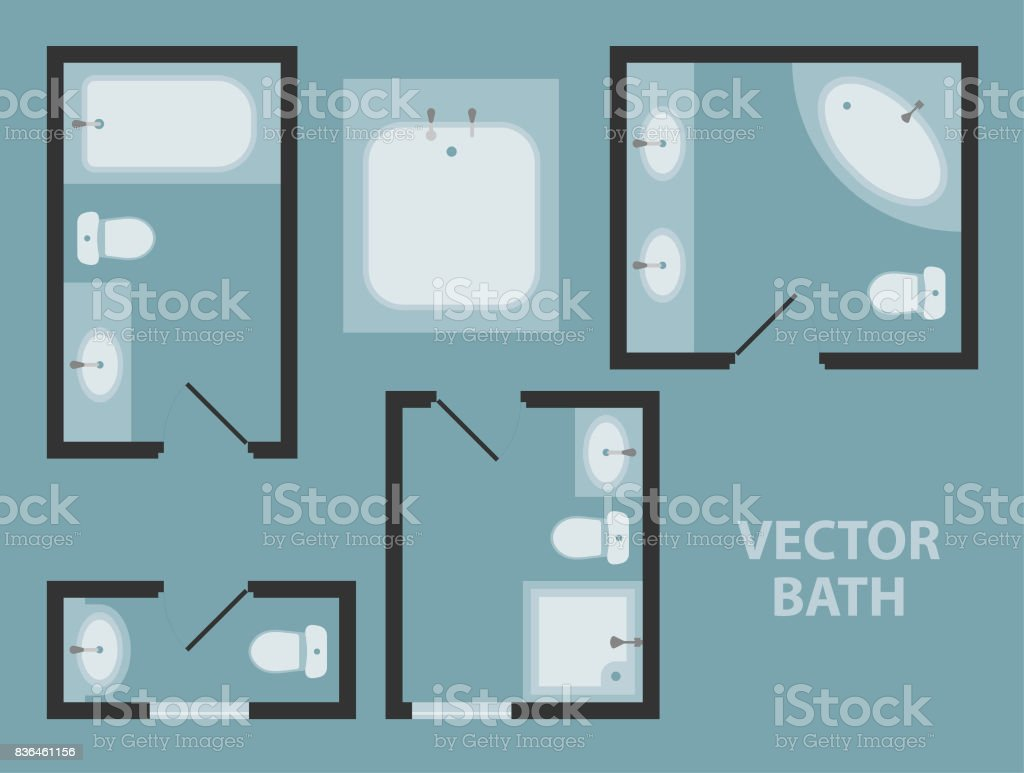 Bathroom interior design elements top view stock photo