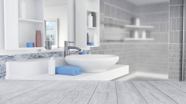 Bathroom Interior Design With Blue Towels and Empty Wooden Floor Bathroom Interior Design With Blue Towels and Empty Wooden Floor bathroom stock pictures, royalty-free photos & images