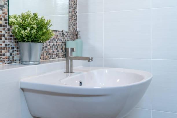 Bathroom interior in new luxury home stock photo