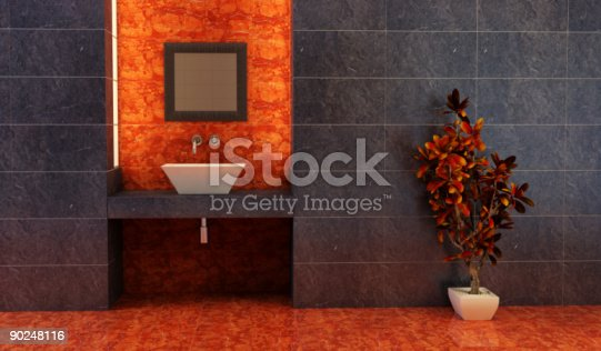 istock Bathroom interior with Chinese inspiration and dark tiles 90248116