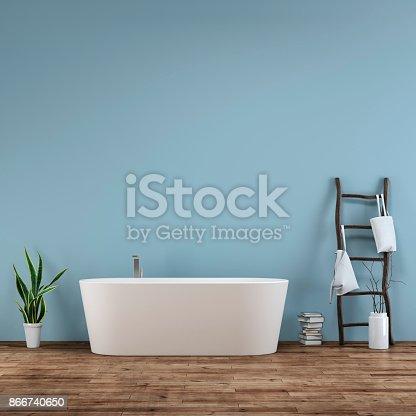 istock Bathroom interior with decoration 866740650