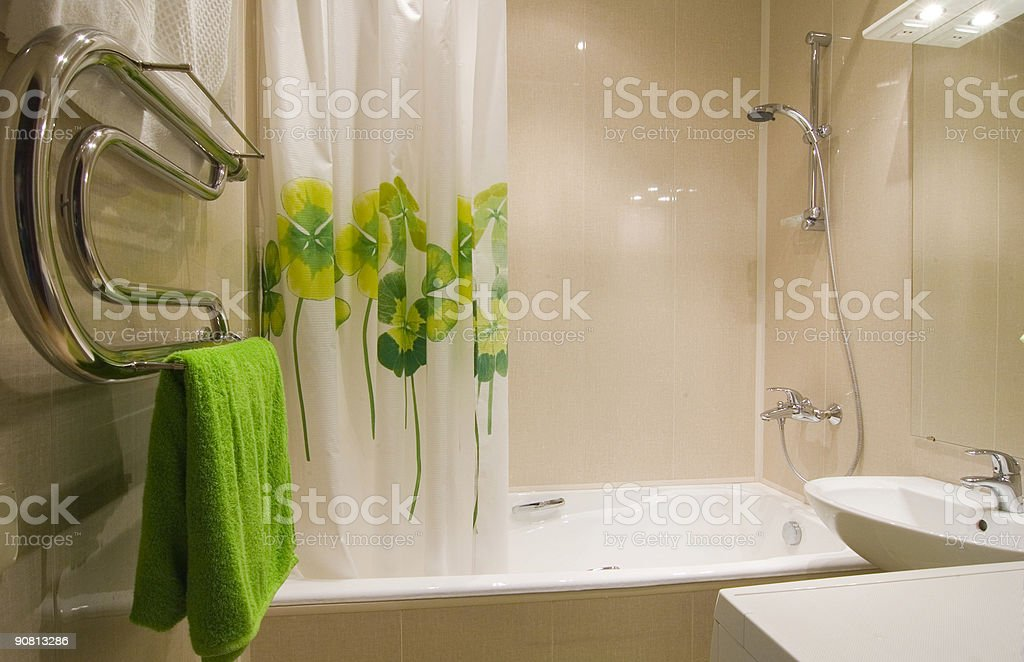 Bathroom interior with green accent royalty-free stock photo