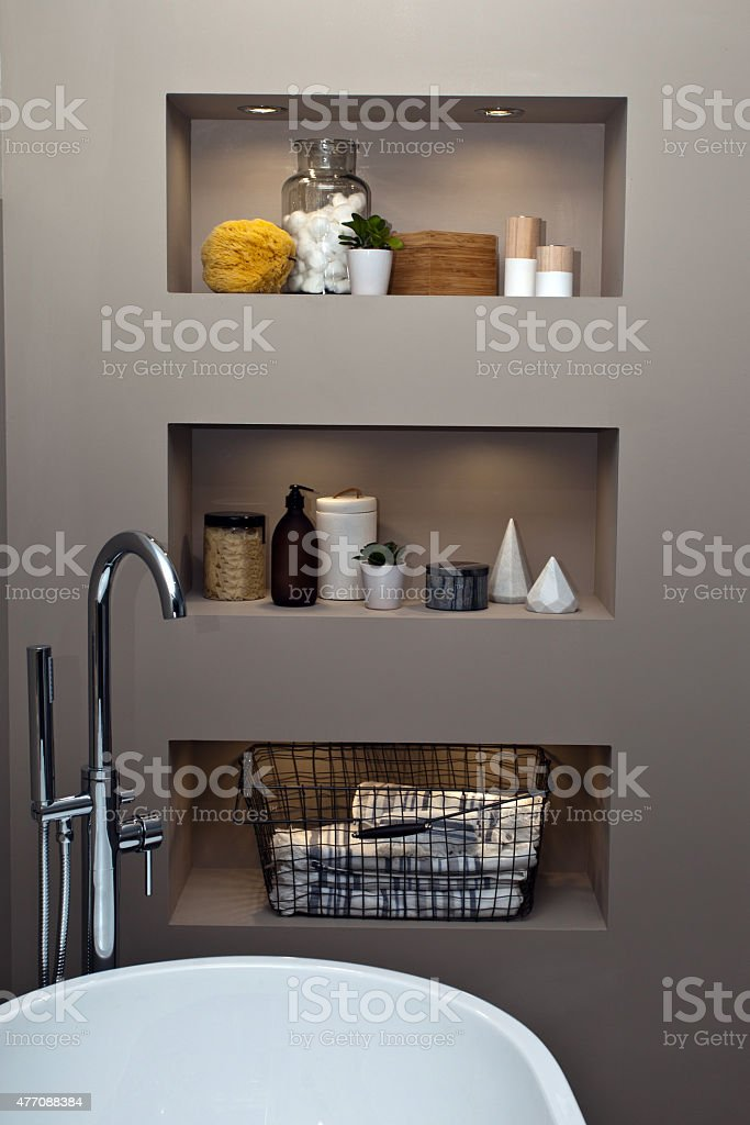 Bathroom interior with niches stock photo
