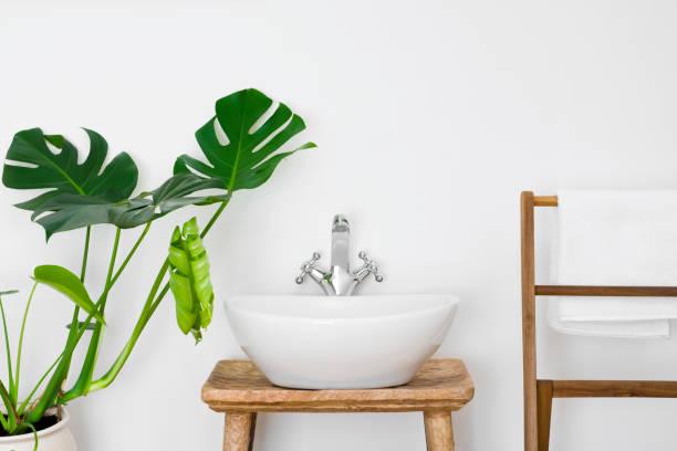 badezimmer interieur mit weiße wanne, handtuch kleiderbügel und grüne pflanze - badewanne holz stock-fotos und bilder