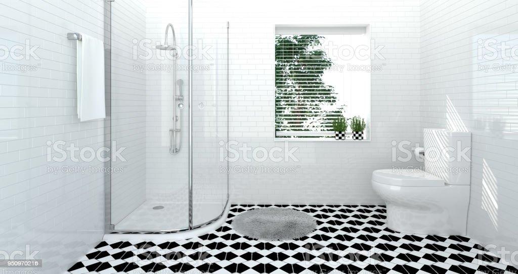Fotografía de Interior De Cuarto De Baño Aseo Ducha Moderna Casa ...