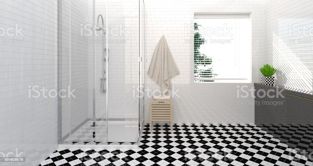 Fotografía de Interior De Cuarto De Baño Aseo Ducha Moderna Casa De ...