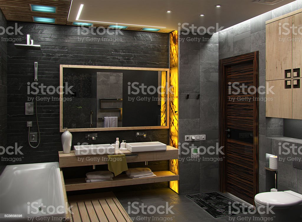 Bathroom minimalist interior design, render 3D stock photo