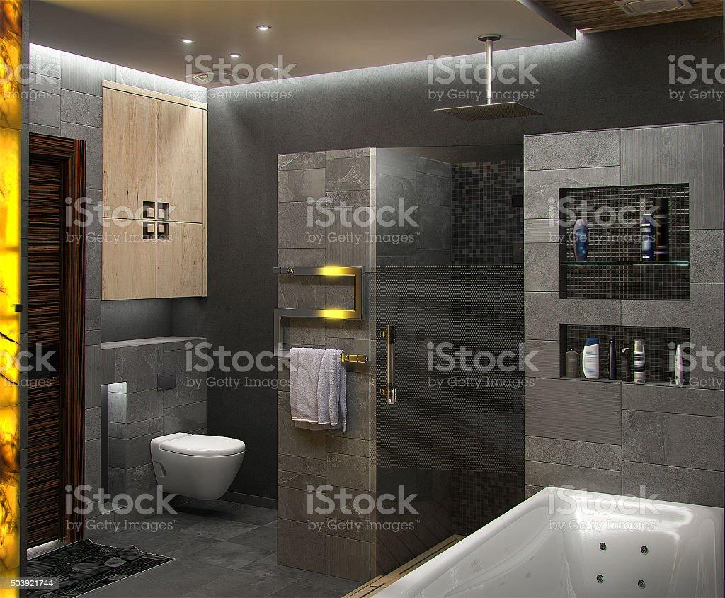 Badezimmer, minimalistisches design, 3D render Lizenzfreies stock-foto