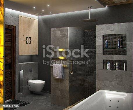 Badezimmer Minimalistisches Design 3d Render Stock-Fotografie und mehr Bilder von Antiquität