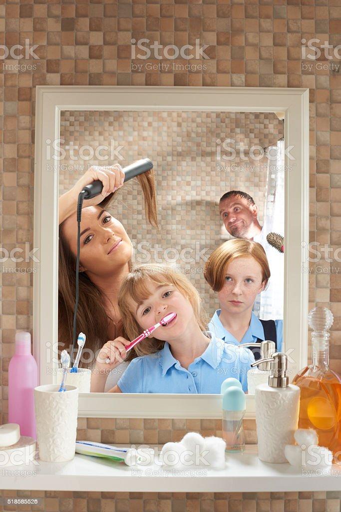 Bathroom morning privacy stock photo