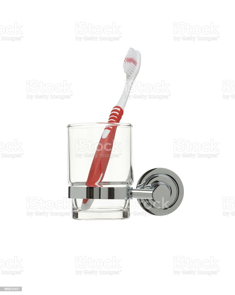 bathroom object series - toothbrushes holder royalty-free stock photo