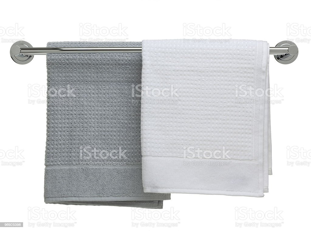 bathroom object series - towels on a rail royalty-free stock photo