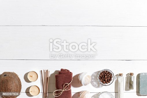 istock Bathroom or spa set on white background top view mock-up 860097504