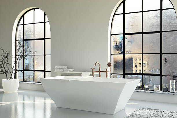 - badezimmer - minimalbadezimmer stock-fotos und bilder