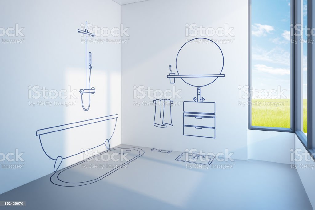 bathroom planning design stock photo