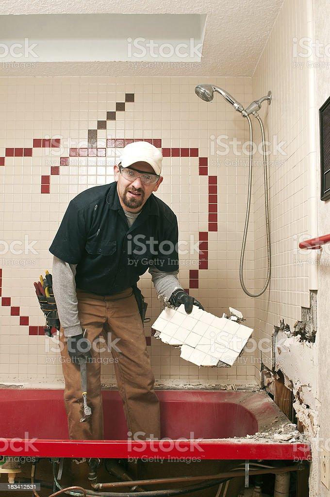Bathroom Remodel guy royalty-free stock photo