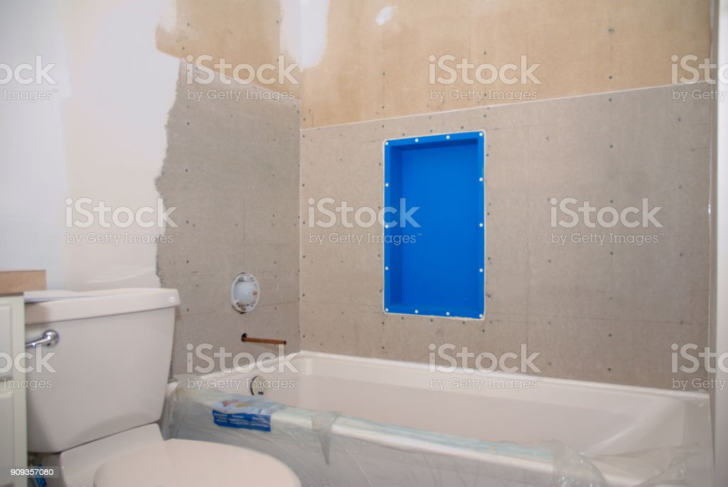 Cuarto De Baño Remodelación Listo Para El Azulejo Foto de ...