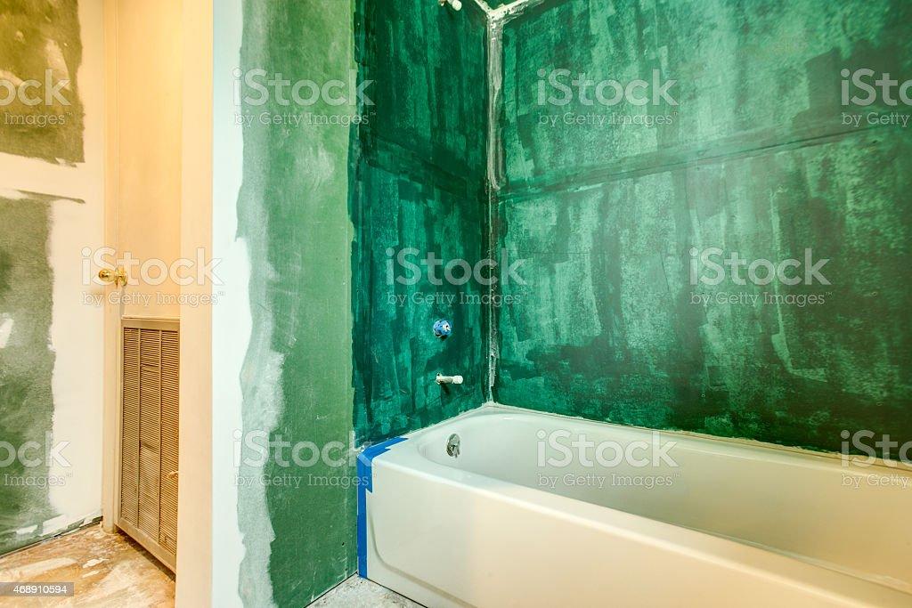 Bathroom Remodel, Sealing the Walls stock photo