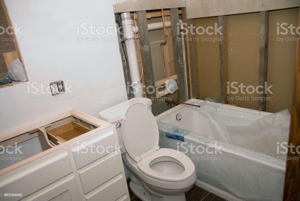 Bathroom Remodel Vanity Toilet Tub stock photo