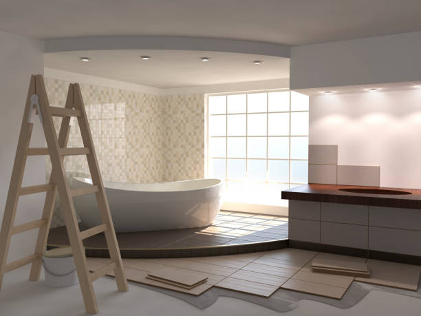 Beige de renovación de baño - foto de stock
