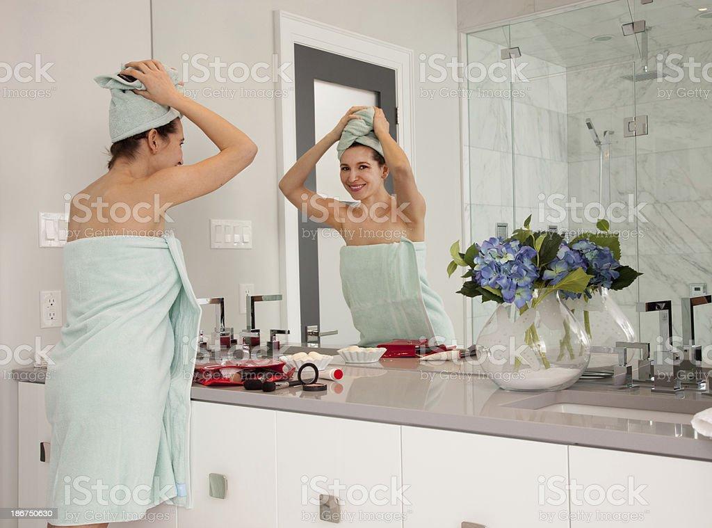Bathroom routine stock photo