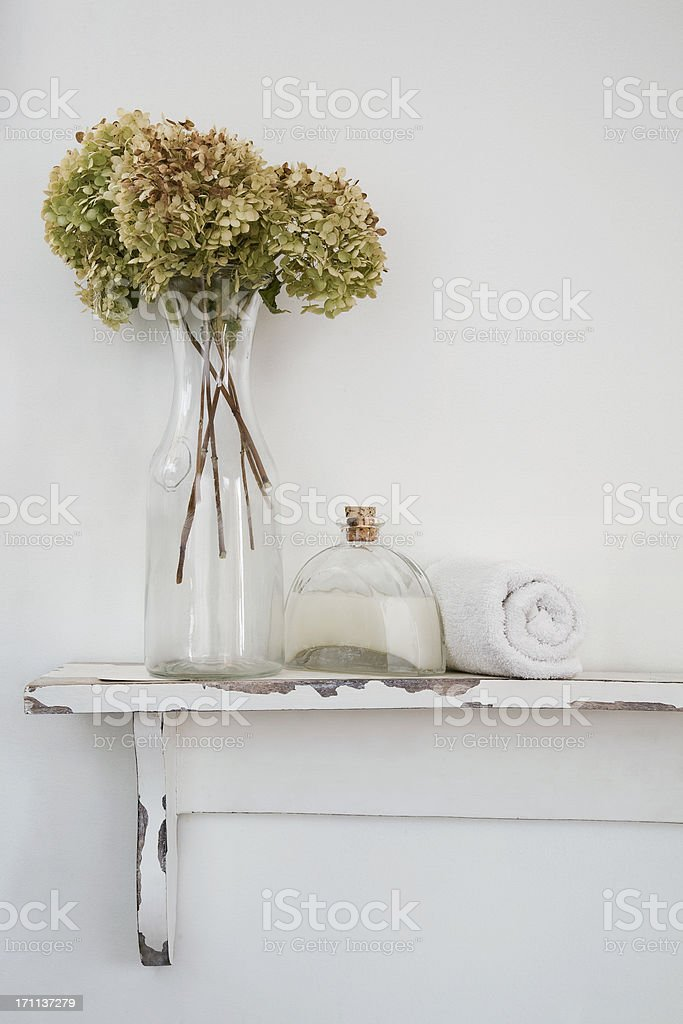 Bathroom rustic shelf witl products stock photo