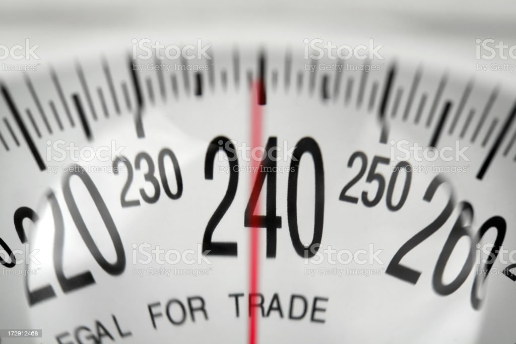A bathroom scale showing the 240 pound mark  royalty-free stock photo