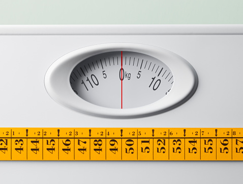 Bathroom Scale With Tape Measure Stock Photo - Download Image Now