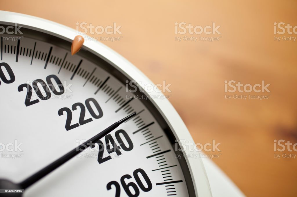 Bathroom Scales and weight gain royalty-free stock photo