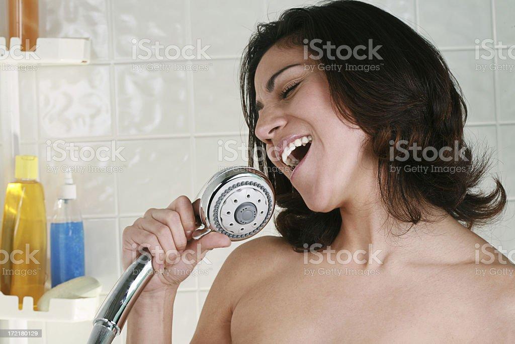 Bathroom Series Singing in Shower royalty-free stock photo