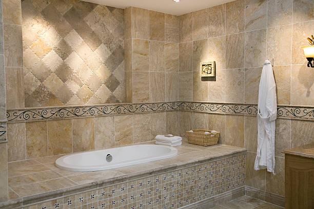 bagno, moderno e lussuoso - bacinella metallica foto e immagini stock