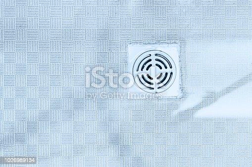 istock bathroom sewer drain hole gas smell on the floor 1026989134