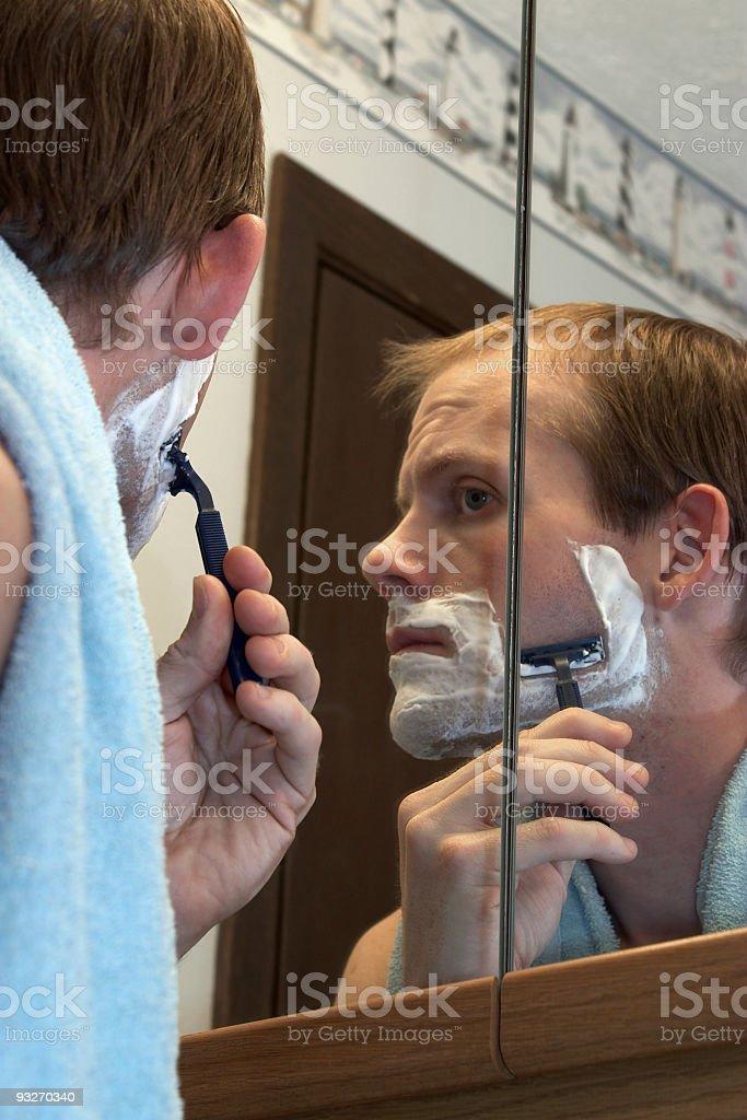 Bathroom Shaving royalty-free stock photo