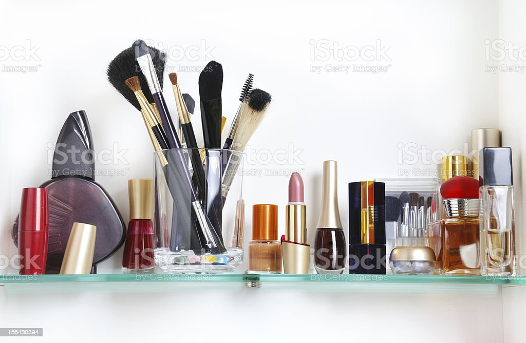 bathroom shelf stock photo