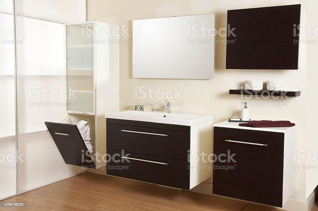 Bathroom Sink and Mirror stock photo
