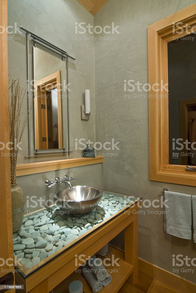 Bathroom sink with glass countertop royalty-free stock photo
